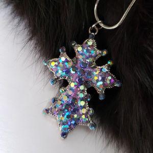 Kirks Folly rhinestone cross purple silver